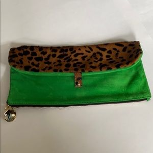 Brand new Meli Melo green suede and leopard clutch